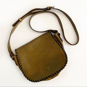Patricia Nash Salerno Saddle Bag Olive Leather